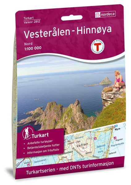 Vesteralen (Vesterålen) - Hinnoya Nord Wanderkarte 1:100.000 – Norwegen, Turkart 2812 von Nordeca