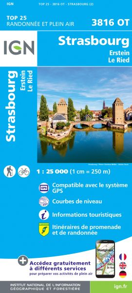 IGN 3816 OT Strasbourg / Straßburg, topographische Wanderkarte 1.25.000