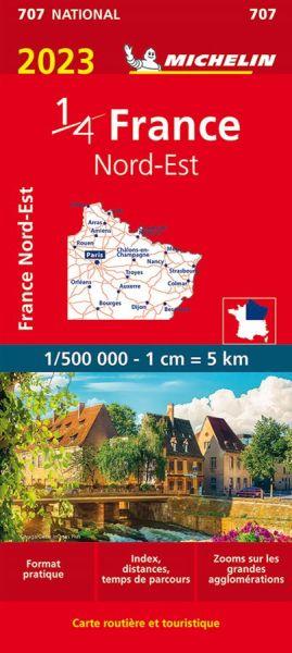 Michelin 707 Frankreich Nordost Straßenkarte 1:500.000