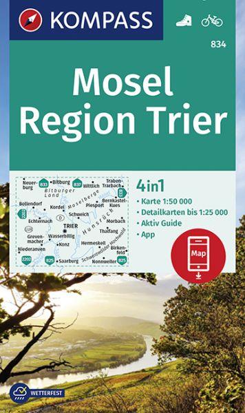 Kompass Karte 834 Mosel – Region Trier 1:50.000, Wandern, Rad fahren