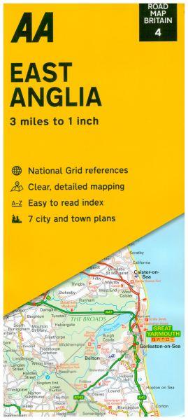 AA Straßenkarte Blatt 4, East Anglia 1:200.000