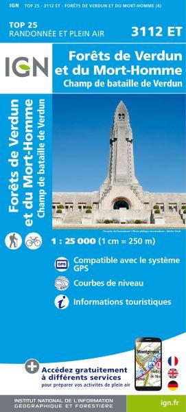 IGN 3112 ET Foret de Verdun et du Mort-Homme, Frankreich 1:25.000