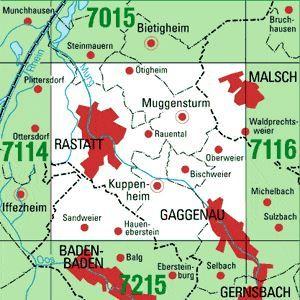 7115 RASTATT topographische Karte 1:25.000 Baden-Württemberg, TK25