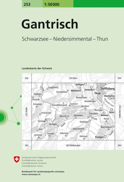 253 Gantrisch topographische Wanderkarte Schweiz 1:50.000