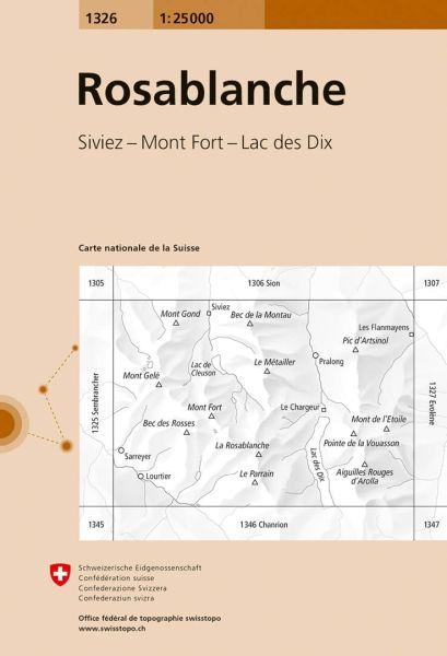1326 Rosablanche topographische Wanderkarte Schweiz 1:25.000