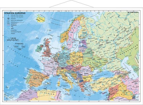 Europakarte Pol Klein Mit Leisten Poster Stiefel Verlag