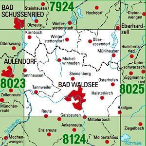8024 BAD WALDSEE topographische Karte 1:25.000 Baden-Württemberg, TK25