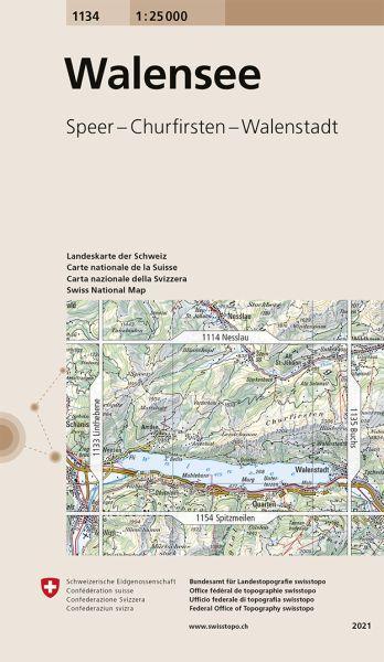 1134 Walensee topographische Wanderkarte Schweiz 1:25.000