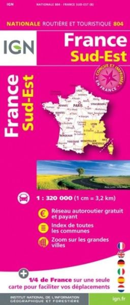 Frankreich Sud-Ost Straßenkarte im Maßstab 1:320.000 - IGN 804