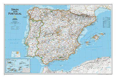 Spanien Portugal Landkarten Posterpolitisch 84 Cm X 56 Cm