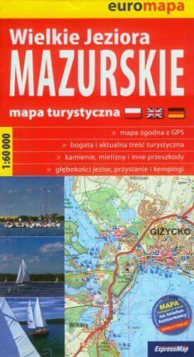 Große Masurische Seen topographische Karte mit Wander-, Rad- und Kanurouten 1:60.000