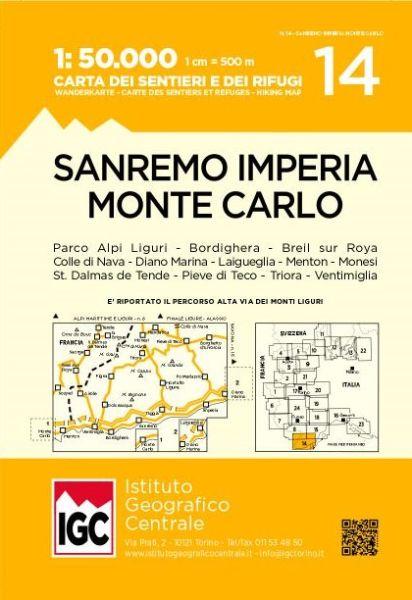 IGC 14 - Wanderkarte für San Remo - Imperia - Monte Carlo 1:50.000