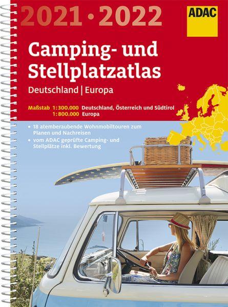 Deutschland Europa Camping- und Stellplatzatlas, 1:300.000/1:800.000, ADAC