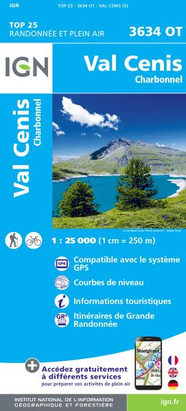 IGN 3634 OT Val Cenis, Charbonnel, Susa, Frankreich Wanderkarte 1:25.000