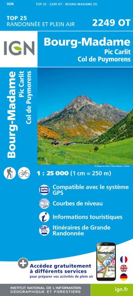 IGN 2249 OT Bourg Madame / Col Puymorens, Frankreich Wanderkarte 1:25.000
