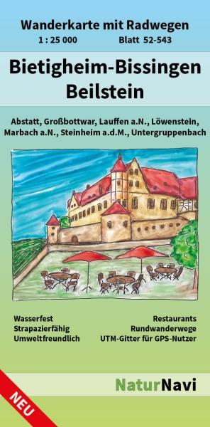 Bietigheim-Bissingen / Beilstein 1:25.000 Wanderkarte mit Radwegen – NaturNavi Bl. 52-543