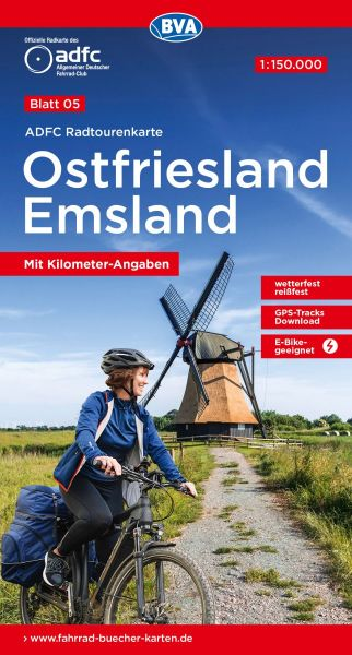 ADFC Radtourenkarte 5, Ostfriesland - Emsland Radwanderkarte 1:150.000 wetterfest