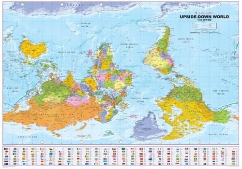Weltkarte Down Under Upside Down politisch von Global Mapping