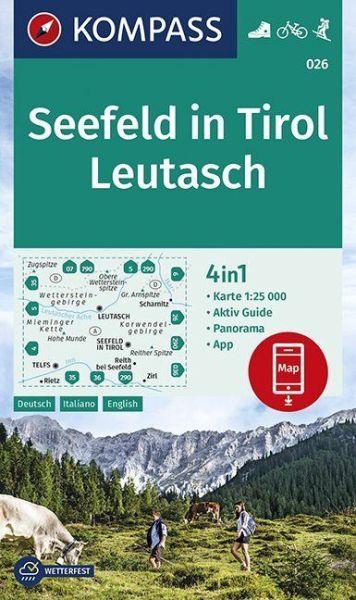 Kompass Karte 026, Seefeld in Tirol, 1:25.000, Wandern, Rad fahren
