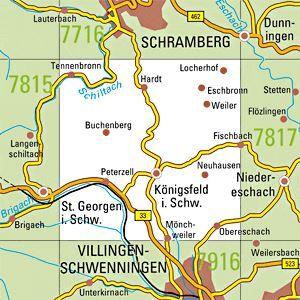 7816 ST.GEORGEN I.SCHW. topographische Karte 1:25.000 Baden-Württemberg, TK25