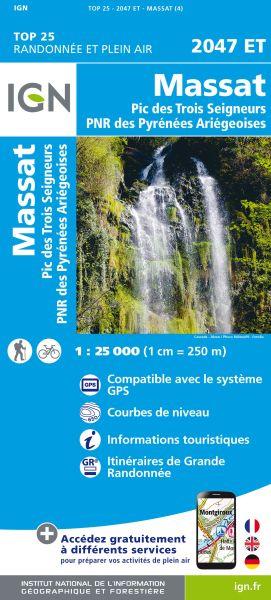 IGN 2047 ET La Bastide-de-Sérou / Massat / Pic des Trois Seigneurs, Frankreich Wanderkarte 1:25.000