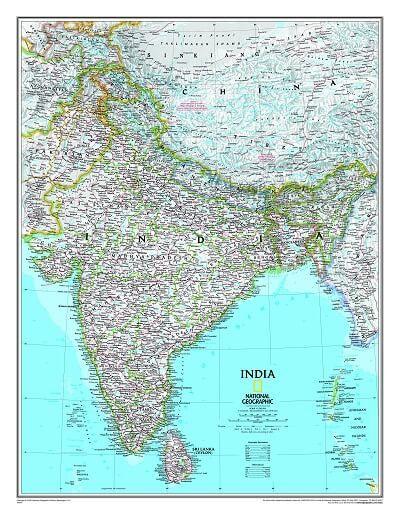 NGS Poster Indien Landkarte politisch 58 cm x 76 cm