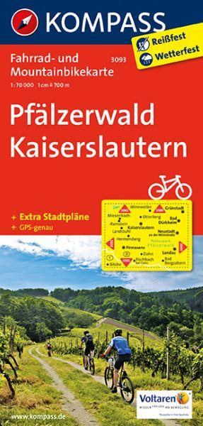 Kompass Fahrradkarte Blatt 3093 Pfälzerwald, Kaiserslautern 1:70.000