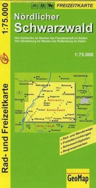 Freizeitkarte für den nördlichen Schwarzwald in 1:75.000, Wandern, Rad