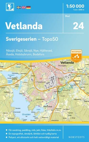 Vetlanda Wanderkarte 1:50.000, Schweden Topo50 Blatt 24