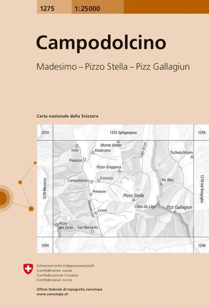 1275 Campodolcino topographische Wanderkarte Schweiz 1:25.000