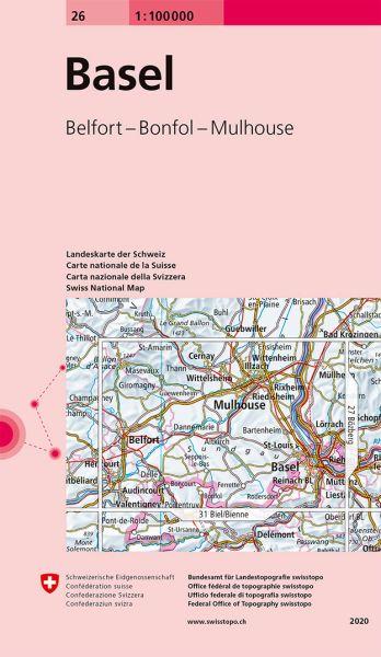 26 Basel topographische Karte Schweiz 1:100.000