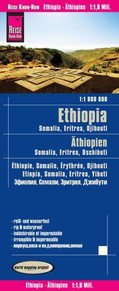 Äthiopien, Somalia, Eritrea, Dschibuti Landkarte 1:1.800.000, Reise Know-How