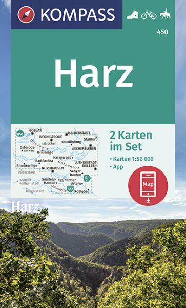 Kompass Karten Set 450, Harz 1:50.000, Wandern, Rad fahren