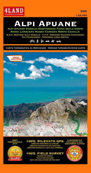 Alpi Apuane, 1:25.000, Toskana Wander- und Freizeitkarte