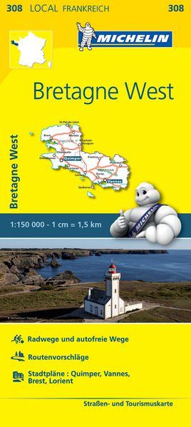 Michelin local 308 Bretagne West Straßenkarte 1:150.000