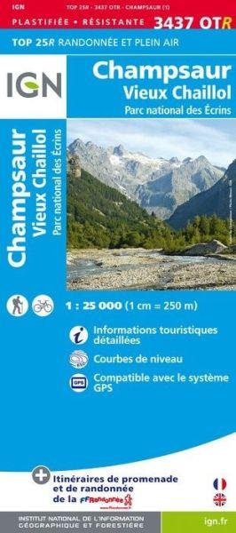 IGN 3437 OTR Champsaur, Vieux Chaillol, topographische Wanderkarte 1:25.000