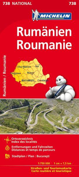 Michelin 738 Rumänien Straßenkarte, Stadtplan Bukarest 1:750.000