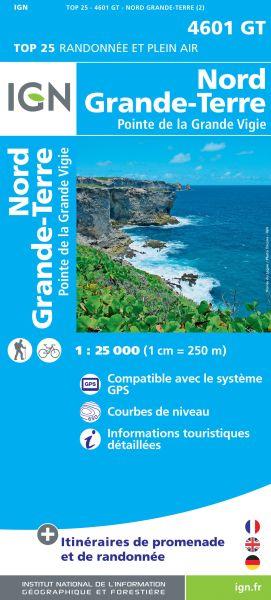 IGN 4601 GT Nord Grande-Terre, Guadeloupe Wanderkarte 1:25.000