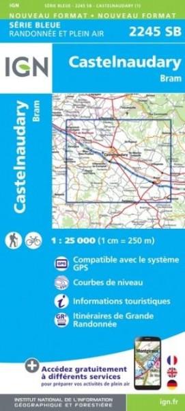IGN 2245 Castelnaudary / Bram, Frankreich Wanderkarte 1:25.000