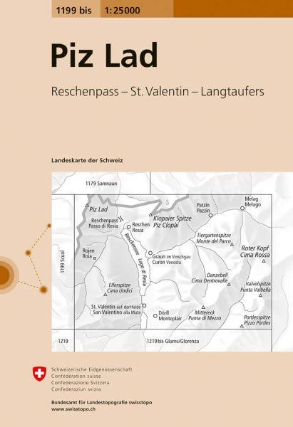 1199 bis Piz Lad topographische Wanderkarte Schweiz 1:25.000