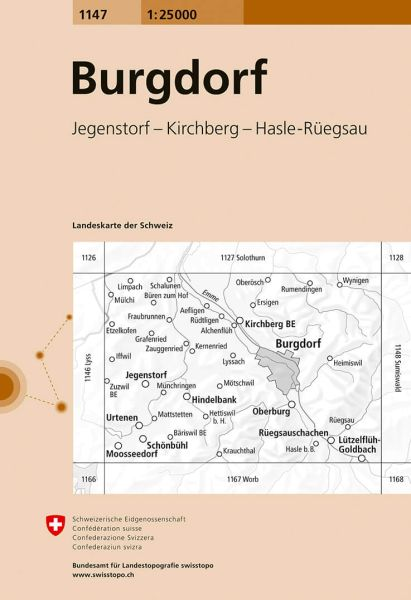 1147 Burgdorf topographische Wanderkarte Schweiz 1:25.000