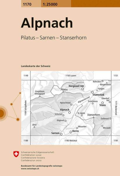 1170 Alpnach topographische Karte Schweiz 1:25.000