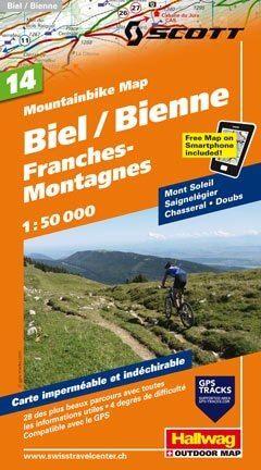 Hallwag Mountainbike Map Bl.14, Biel, Franches-Montagnes, 1:50.000, Wasser- und reißfest