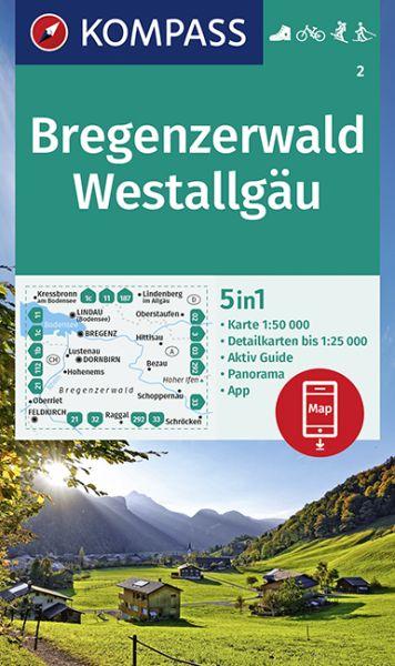 Kompass Karte 2, Bregenzerwald, Westallgäu 1:50.000, Wandern, Rad fahren