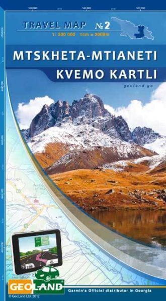 Mtskheta - Mtianeti, Kvemo Kartli - Georgien Straßenkarte 1:200.000
