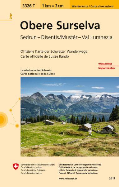 3326 T Obere Surselva Wanderkarte 1:33.333 wetterfest - Swisstopo