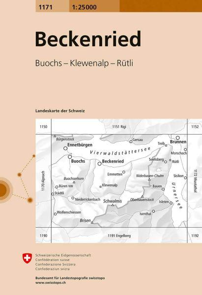 1171 Beckenried, topographische Wanderkarte Schweiz 1:25.000