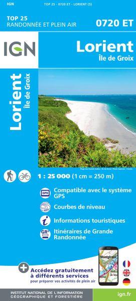 IGN 0720 ET Lorient, Ile de Groix Frankreich Wanderkarte 1:25.000