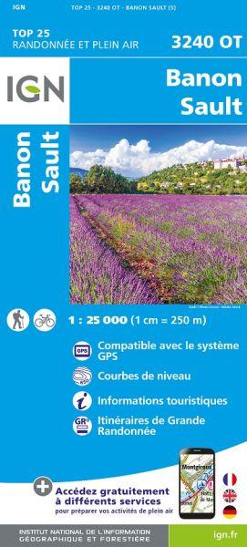 IGN 3240 OT Banon / Sault / Plateau de St-Christol, Frankreich Wanderkarte 1:25.000