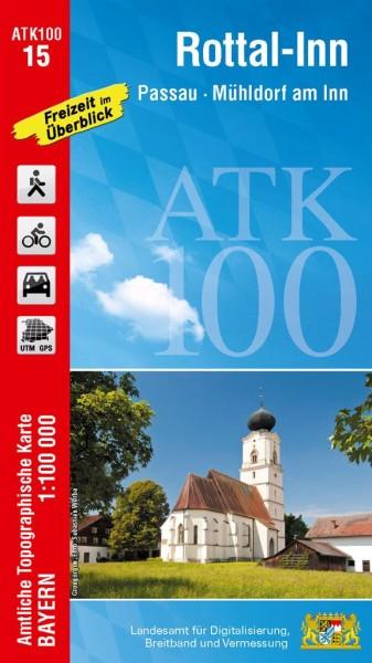 ATK100 Blatt 15 Rottal-Inn, Freizeitkarte, 1:100.000 amtliche topographische Karte